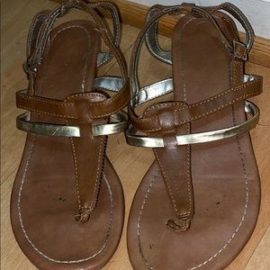 Express brown and gold sandals